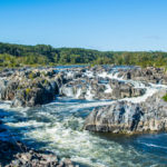 Strong White Water Rapids in Great Falls Park, Virginia