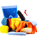 Cleaning bucket with tons of house cleaning supplies